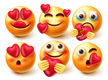 Smileys In Love Emoji Vector Set. Emoji 3d Character In Love And Broken Expressions With Pose Like Holding, Crying And Kissing For Cute Emojis Collection Design. Vector Illustration