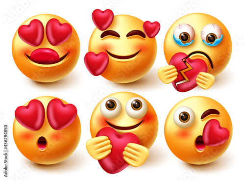 Billede på lærred Smileys in love emoji vector set