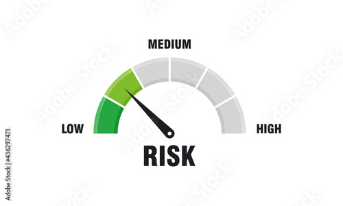 Leinwand Poster High risk concept on speedometer vector illustration, Speedometer icon