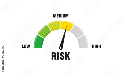 Foto High risk concept on speedometer vector illustration, Speedometer icon