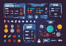 Game UI Kit. Cartoon Interface Menu Elements. Buttons And Progress Bars Set. Award Medals. Space Arcade Indicators. Map With Planets And Rocket Way. Vector Isolated GUI Symbols Set