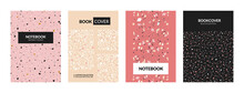 Terrazzo Book Cover. Abstract Italian Concrete Textures For Notebooks. Marble Stone Mockup With Chaotic Particles And Splinters. Vector Decorative Copybook Pastel Design Templates Set