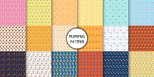 Set Of Abstract Seamless Patterns In The Memphis Style. Set Of Memphis Style Seamless Patterns. Seamless Memphis Style Background Pattern.