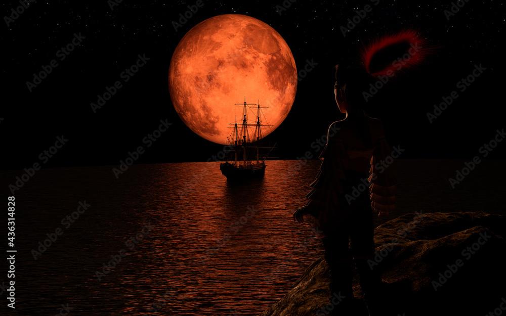 Fotografie, Obraz Pirate sailboat at the full red moon