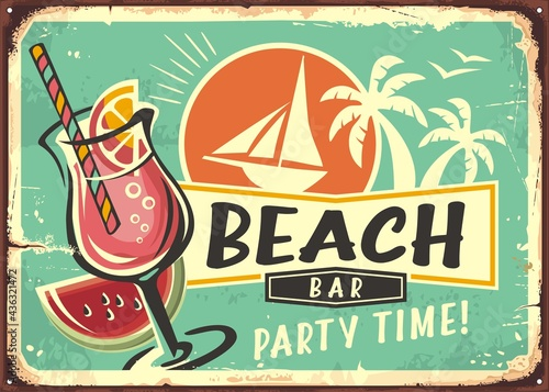 Beach bar cocktail party retro poster layout. Tropical paradise theme with cocktail glass drink, sailboat and palm trees. Summer vacation vintage sign design.