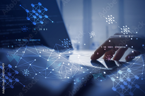 Carta da parati Blockchain technology futuristic and smart city background, electronics money, d