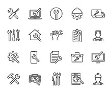 Vector Set Of Repair Line Icons. Contains Icons Device Repair, Technical Support, Engineer, Tool Kit, Home Repair, Maintenance, List Works And More. Pixel Perfect.