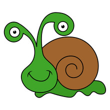A Fun Cartoon Snail. Drawing On A White Isolated Background.