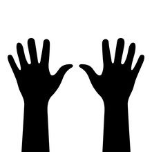 Two Hands Close-up. Black Silhouettes Isolated. Right And Left Human Hands With Palms Raised Up. Hand Fragments From Wrist To Fingertips. Human Body Details. Vector Flat Illustration. EPS 10 Format