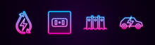 Set Line Water Energy, Electrical Outlet, Hydroelectric Dam And Car. Glowing Neon Icon. Vector
