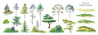 Leinwandbild Motiv Watercolor tree set. Green pine, blue spruce, green hills, island meadow
