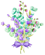 A Bouquet Of Green Eucalyptus Leaves And Lilac Lavender. Watercolor Illustration