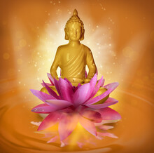 Beautiful Composition With Buddha Sculpture And Lotus Flower On Water Surface