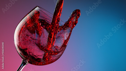 Glass of red wine on neon colors background, closeup