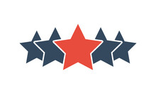 5 Stars Vector Icon, Customer Product Rating Or Feedback