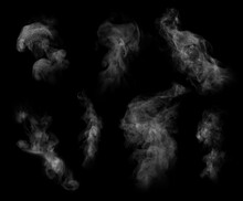 White Steam Columns Rising On Black Background, Collage