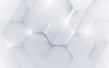 Abstract White Geometric Hexagon With Futuristic Technology Digital Hi-tech Concept Background. Vector Illustration