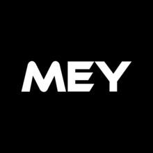 MEY Letter Logo Design With Black  Background In Illustrator, Vector Logo Modern Alphabet Font Overlap Style. Calligraphy Designs For Logo, Poster, Invitation, Etc.