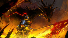 A Knight In Thick Shiny Armor With A Burning Flag Stands In The Middle Of A Burned City In Front Of A Huge Black Dragon, Which Looks At Its Prey With Predatory Eyes Of Fire. 2d Illustration.