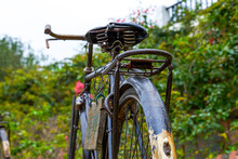 An Overall Partial Close-up Of An Old Rusty Bicycle