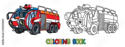 Fotografiet Fire truck or fire engine with eyes Coloring book