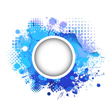 Round Blue Frame From Spots Of Paint. Background From Blots. Grunge Design Element. Brush Strokes. Vector Illustration