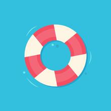 Lifebuoy Isolated On Blue Background. Vector Illustration