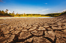 Drought In Rural Areas, Water Levels Drop, Rain Does Not Fall Seasonally Due To Global Warming.