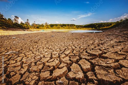 Fototapeta Drought in rural areas, water levels drop, rain does not fall seasonally due to global warming
