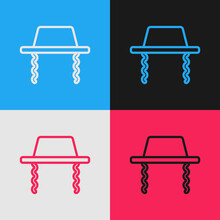 Pop Art Line Orthodox Jewish Hat With Sidelocks Icon Isolated On Color Background. Jewish Men In The Traditional Clothing. Judaism Symbols. Vector