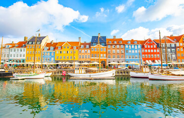 Nyhavn harbor in Copenhagen old town, Denmark