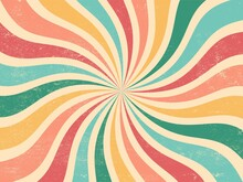 Colourful Grunge Retro Burst Vector. Vintage Summer, Circus And Carnival Background.