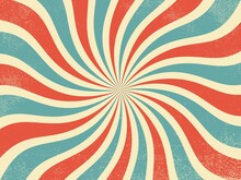 Vintage Red And Blue Rays Retro Burst  Background
