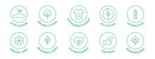 Sustainable Fashion Line Icon Set. Eco Viscose Product Logo. Slow Fashion Badge. Organic Cotton, Natural Dyes, Renewable Crop Label. Fair Trade. Conscious Development. Vector Illustration