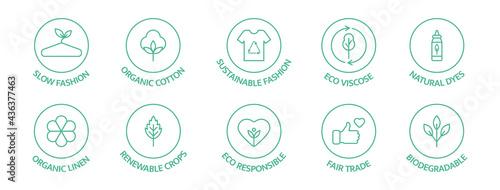 Fotografia Sustainable fashion line icon set