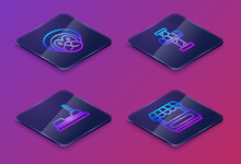 Set Isometric Line Wild Lion, Bumper Car, Attraction Carousel And Fast Street Food Cart. Blue Square Button. Vector