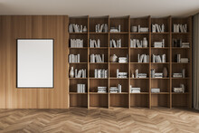 Light Art Room Interior With Big Wooden Bookshelf And Decoration, Mock Up Poster