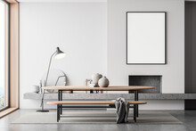 White Room Interior With Fireplace, Table And Lamp, Mockup Poster Near Window