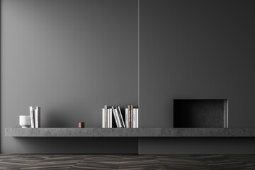 Grey relaxing room interior with fireplace and art decoration, mockup