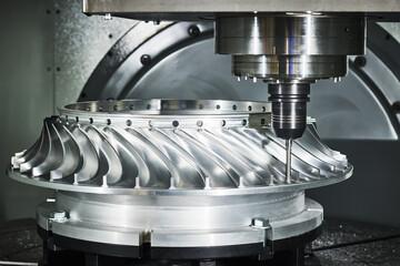 CNC milling machine work. metal processing impeller