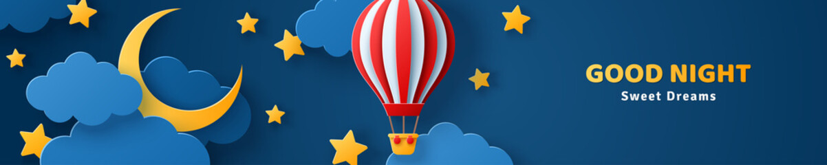 Fluffy clouds on dark sky background with gold moon crescent, stars and red hot air balloon. Vector illustration. Paper cut style. Place for text. Good night baby banner or header concept