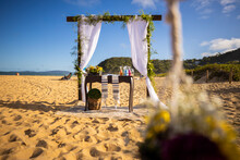 Outdoor Wedding Decor On A Beach