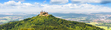 Panoramic View Of Hohenzollern Castle On Mountain Top, Germany