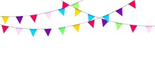 Garland With Flags. Holidays Design And Decoration. Birthday, Carnival, Party, Festival. Triangular Pennants. Decorative Colorful Elements. Vector Illustration.