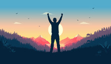 Personal Victory And Winning - Person Standing In Landscape Watching Sunrise Celebrating Triumph Alone. Feel Good Concept, Vector Illustration.