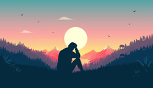 Melancholy Man Sitting In Landscape Thinking And Contemplating. Beautiful Warm Nature And Sunset In Sky. Melancholic Feeling Concept. Vector Illustration.