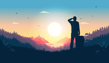 Hiker Watching Sunrise From Hill - Man Looking At Beautiful View Over Warm Landscape, Enjoying The Start Of A New Day. Happiness, Positive And Contentment Concept. Vector Illustration.
