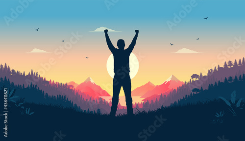 Fotografia Personal victory and winning - Person standing in landscape watching sunrise celebrating triumph alone