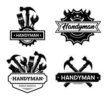 Different Handyman Logo Flat Icon Set
