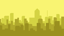 1920 X 1080 City Silhouette With Warm Color. City Silhouette At Sunset. Simple City Building Silhouette With Solid Background.